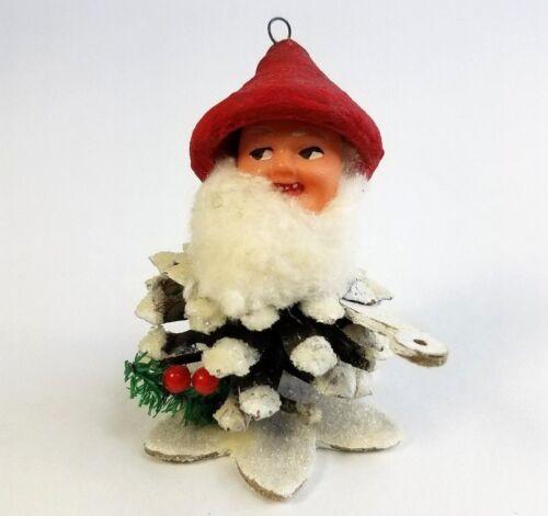 Vintage  Pinecone Christmas Elf Santa Gnome Ornament Cotton Beard Teeth Mica