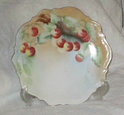 VINTAGE HAND PAINTED PORCELAIN PLATE CHERRIES SIGNED GERMANY