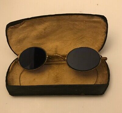 Vintage Oval Blue Glass Prescription Eyeglasses John Lennon Style (Prescription John Lennon Glasses)