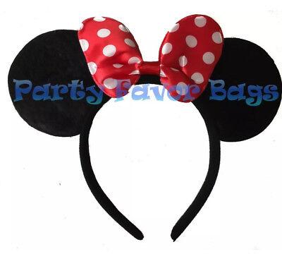 Minnie Mouse Ears Headband Polka Dot Red Bow Adult Kid Halloween Costume Party - Adult Minnie Mouse Halloween Costume