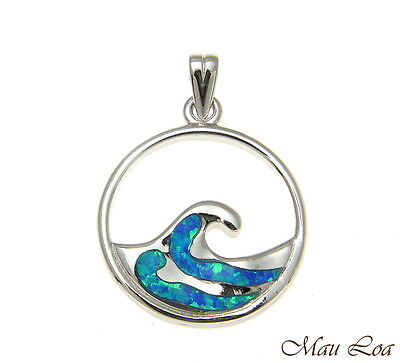 - 925 Sterling Silver Rhodium Hawaiian 20mm Ocean Wave Blue Opal Pendant Charm