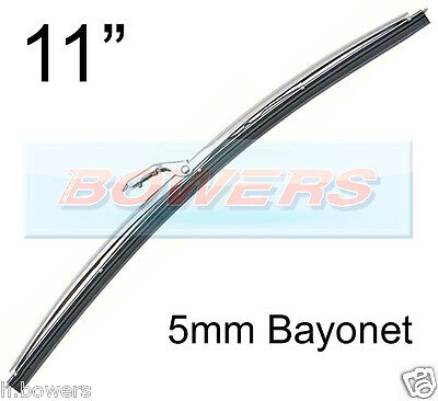 "11"" INCH STAINLESS STEEL NOT CHROME CLASSIC CAR WIPER BLADE 5mm BAYONET FITTING"