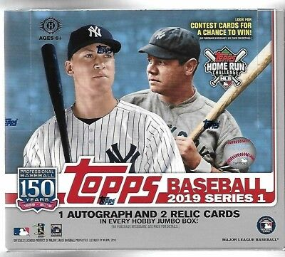 2019 Topps Series 1 Sealed Jumbo Hobby Box 2 Silver Pack Cards Series 1 Hobby Box