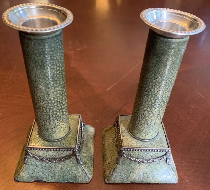 Antique Dressing Table Candlesticks Pair English Silver Mounted Green Shagreen