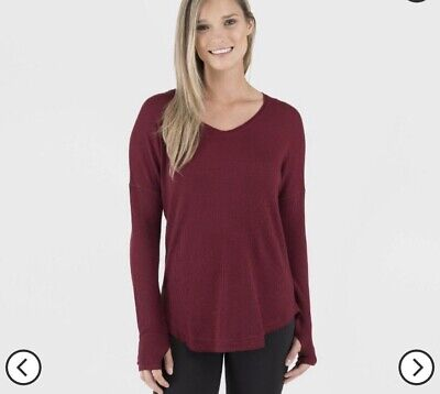 NWT Wander by Hottotties Waffle Long Sleeve V-Neck - Pomegranate - Size M