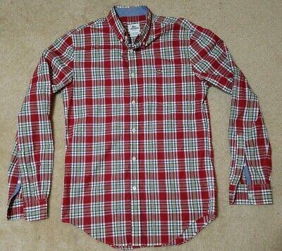 Lacoste Size 38 Medium Men's Shirt Long Sleeve Red Plaid Button Front EUC