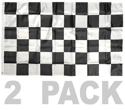 2 PACK - 3X5 FT BW Black White CHECKERED FLAG CHECKER RACING NASCAR BANNER b