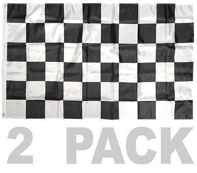 2 PACK - 3X5 FT BW Black White CHECKERED FLAG CHECKER RACING