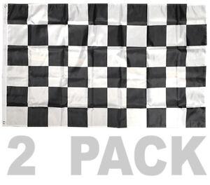 2 PACK - 3X5 FT BW Black White CHECKERED FLAG CHECKER RACING NASCAR BANNER b
