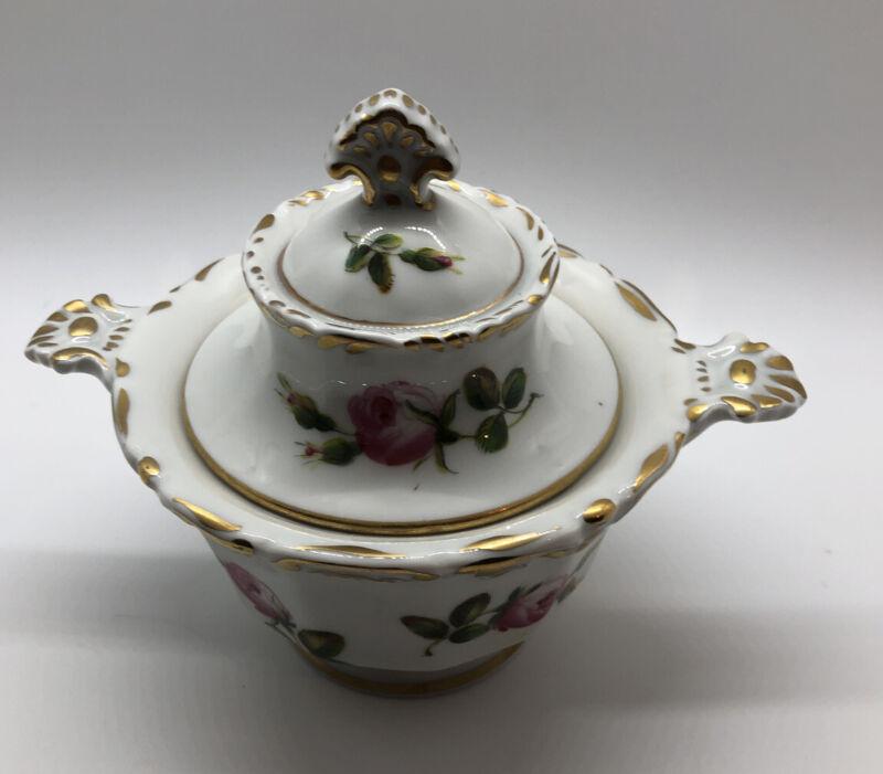 Limoges sugar bowl pink roses gold trim signed Delvaux vintage