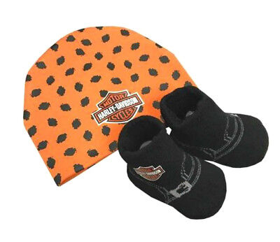 Used, Harley-Davidson® Newborn Infant Boys Beanie Hat & Booties Shoes Set 7050879 for sale  Milwaukee
