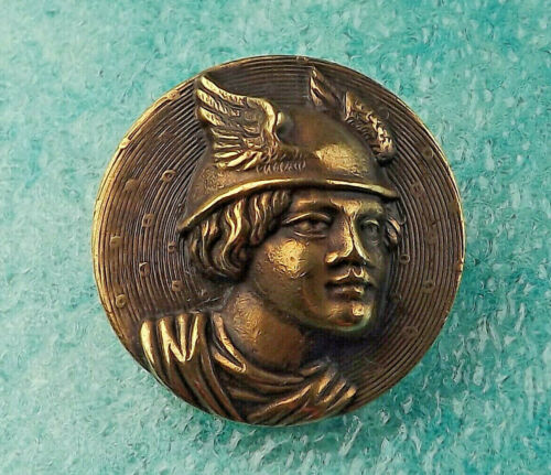 Stamped Brass High Relief Picture Button - Mercury Facing Right - 19th century
