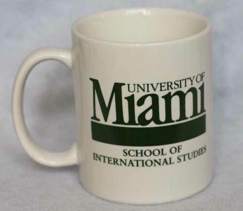 UNIVERSITY OF MIAMI SCHOOL OF INTERNATIONAL STUDIES COFFEE CUP MUG FLORIDA