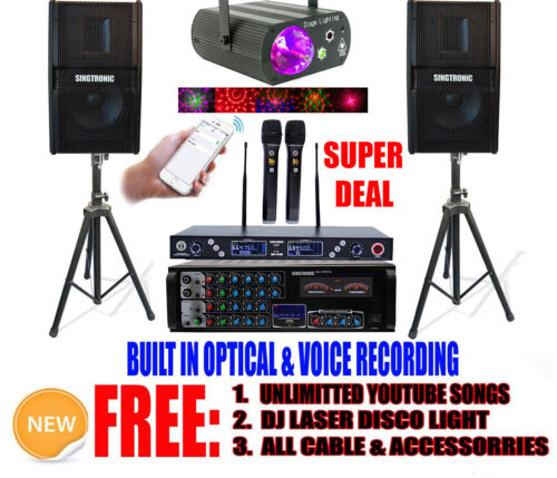 YOUTUBE UNLIMITED SONGS PROFESSIONAL 1500W KARAOKE SYSTEM IPHONE/IPAD & TABLET