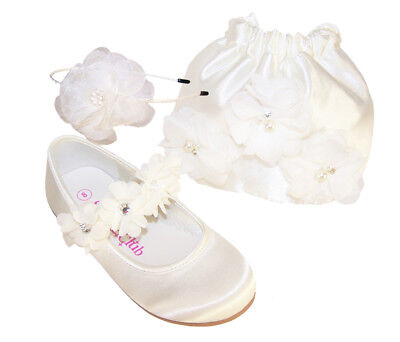 Ivory Satin Flower Girl Shoes (Girls Ivory Satin Ballerina Shoes Drawstring Bag Flower Girl Bridesmaid)