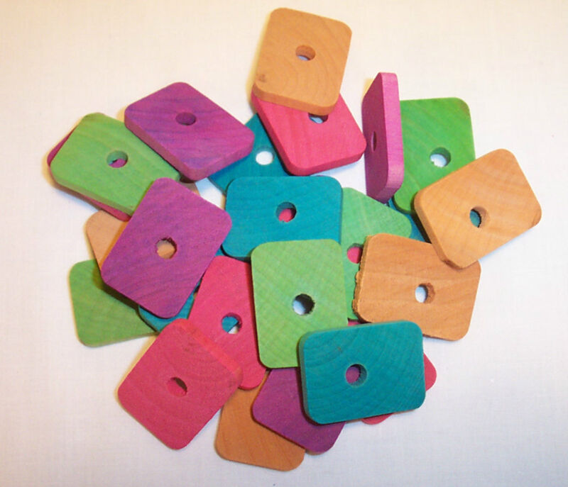 """25 Bird Toy Parts 1-3/8"""" x 1"""" Colored Wood Wooden Flats Parrot toy part  w/Hole"""