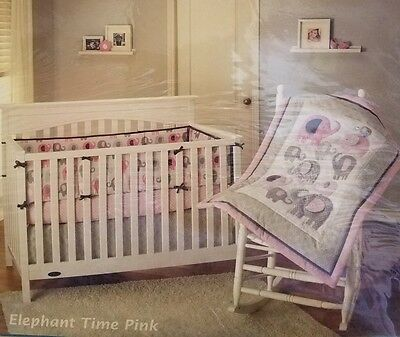 Little Bedding By NoJo Elephant Time Pink/gray Elephant 4-Piece Crib Girl Set :)