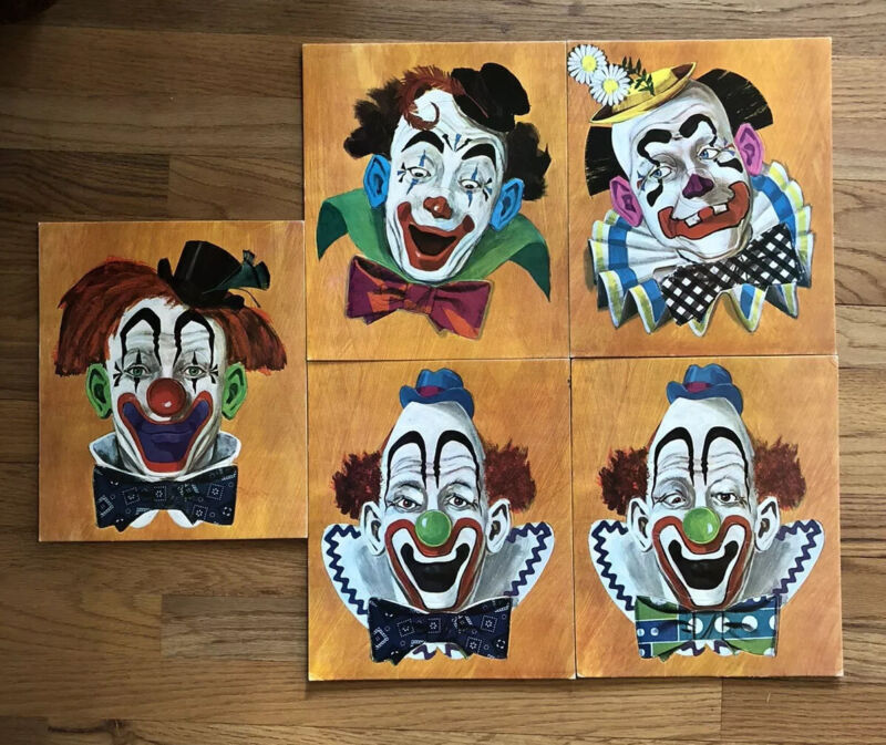 VINTAGE Clown Face PUZZLES Circus Game Frame-Tray Jigsaw Puzzles Lot of 5