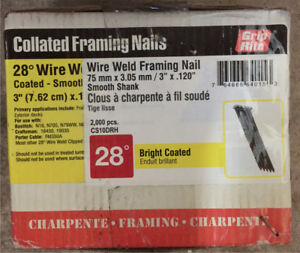 "28 degree collated 3"" framing nails"