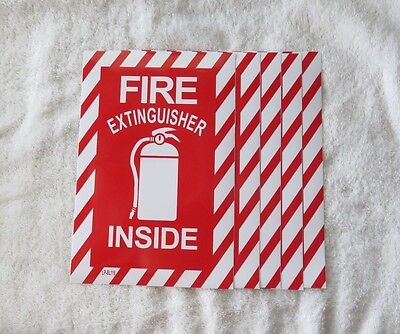 5 Pictorial Fire Extinguisher Inside Self-adhesive Vinyl Sign...6 X 9 New