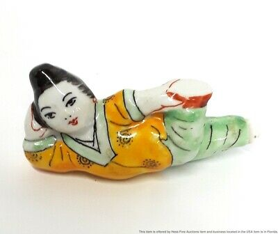 Vintage Chinese Porcelain Lady Figurine Snuff Bottle From Retiree Collection	 Chinese Porcelain Lady Figurine