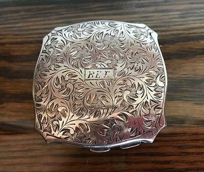 Antique 950 Sterling Silver Mirrored Powder Compact Inscribed Wedding 3 6 Oz