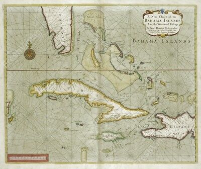 1702 Bahamas Cuba Florida antique map chart Samuel Thornton new poster 20x24