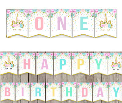 Unicorn One 1St Happy Birthday Party Bunting Banner Party Baby Shower Decoration (Happy 1st Birthday Banner)