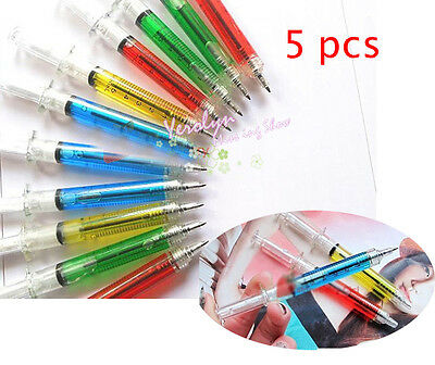5pcs Novelty Liquid Syringe Ballpoint Pen Medical Hospital Stationery Black Ink