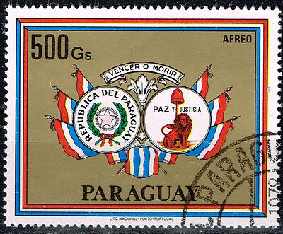 Paraguay Country Flag Coat of Arms Airmail stamp 1979 CV $12