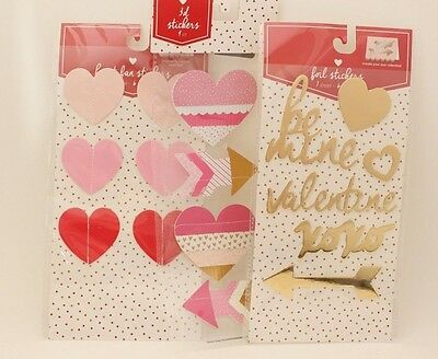 Lot of 3 Stickers Craft Hearts Valentine