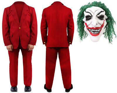 BURGUNDY SUIT CLOWN MOVIE 2019 HALLOWEEN COSPLAY OUTFIT MENS NEW FILM