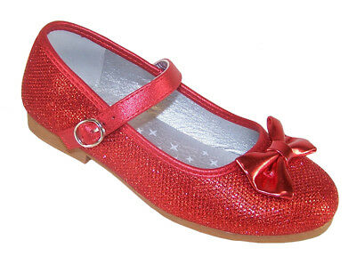 Girls Red Sparkly Glitter Party Shoes Dorothy WOZ Ballerina Bridesmaid Occasion