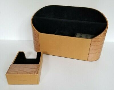 Levenger Leather Snakeskin Desktop Office Organizer With Matching Note Holder