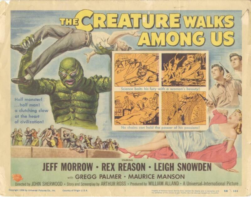 """THE CREATURE WALKS AMONG US""-ORIGINAL TITLE LOBBY CARD-MONSTER-SCI-FI-UNIVERSAL"