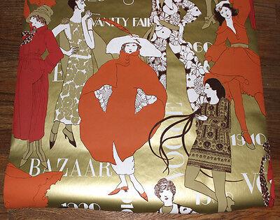 vintage 1979 high fashion wallpaper partial roll Bazaar Vogue 1920's