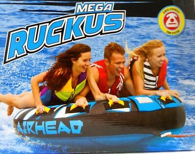 """Airhead Mega Ruckus 3-Person Rider Inflatable Towable Boat 70"""" Deck Tube Water S"""