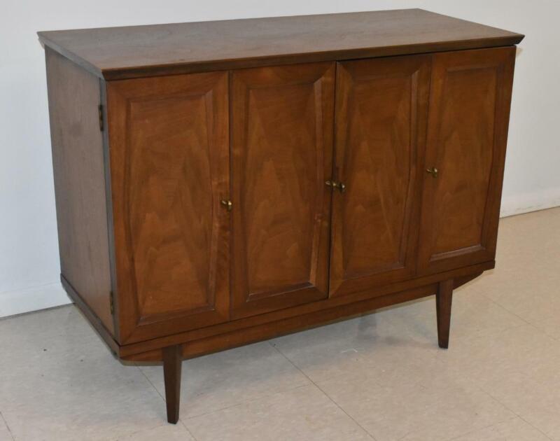 Mid Century Modern Walnut Record Stereo Cabinet