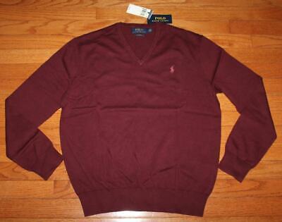 NWT Mens Polo Ralph Lauren Pima Cotton V-Neck Sweater Pony Logo Wine Red *F5