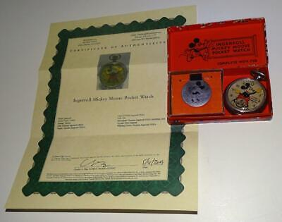 """DISNEY 1934 INGERSOLL EXCELLENT WORKING""""MICKEY MOUSE POCKET WATCH""""+COA-BOXED SET"""