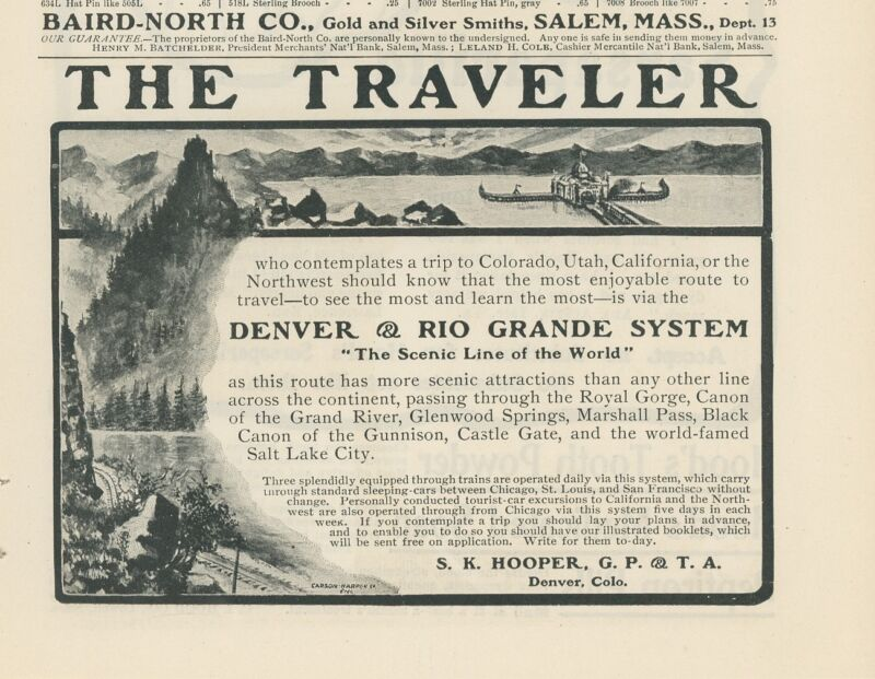 1903 Denver & Rio Grande Railway Ad Railroad Colorado Utah California RR Travel