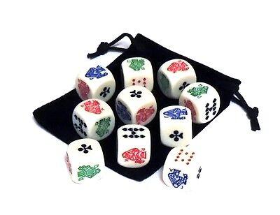 Set of 10 Rounded Corner 16mm Poker Dice with Black Velveteen Dice Bag