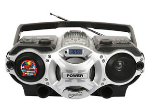 Supersonic Dynamic Portable Boombox AM/FM Radio/SW/MP3 Player USB/SD/AUX Silver