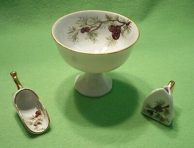 SUNDAY PAINTER porcelain pedestal BOWL & two miniature SCOOPS with pine cones &