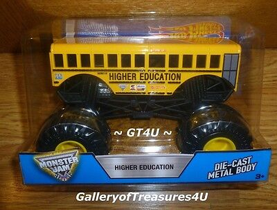 Hot Wheels Monster Jam Truck Higher Education Diecast 1 24 Big Yellow School Bus
