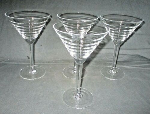 "4 Vintage MCM 8 Oz Beehive Ribbed Martini Cocktail Glasses Barware 7"" Tall"