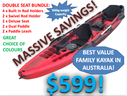 NEW 2.5 Seat Kayak Package 3.7m Lifetime Warranty Great Value!