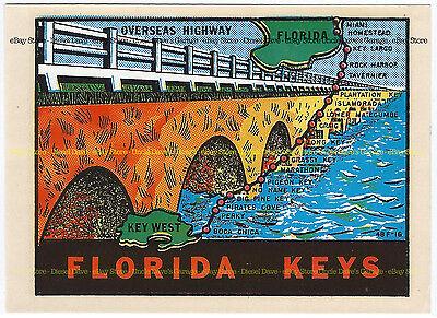 FL KEYS Florida 1950s/60s OVERSEAS HIGHWAY Vintage Souvenir Travel Decal VG+/Ex