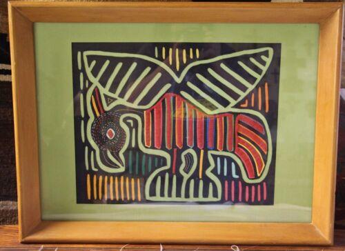 Framed Panama Kuna Mola -  Parrot