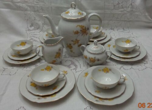 Germany US Zone Vintage 23 piece Porcelain Tea Set Yellow Flowers Gold Accents